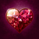Jewel Heart. Red shining jewel heart, over halftone background. AI10 EPS vector illustration, CMYK global colors Royalty Free Stock Image
