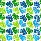 Jewel hearts pattern seamless background. Hearts background pattern with inner curls Royalty Free Stock Photos