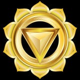 Jewel Medallion like the Hindu Chakra of Manipura. Can be used as any generic gem, jewelry, medal, medallion, or pendant. This  illustration most closely Royalty Free Stock Photos