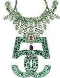 JEWEL NECKLACE NUMBER LEOPARD SKIN Stock Photography
