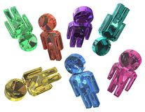 Jewel People. Many color crystal jewel people figures, 3d illustration, horizontal, isolated, over white Stock Image
