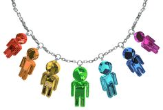 Jewel People Necklace. Many color crystal people figures jewelry chain isolated, 3d illustration, horizontal Royalty Free Stock Images