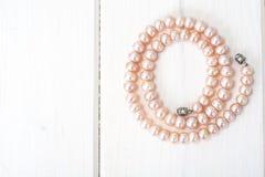 Jewel of pink pearls. Studio Photor Stock Image