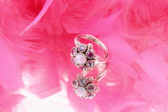 Jewel ring with pearl Stock Photo