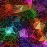 Jewel stone polygonal background with bright colors an golden borders of triangles Stock Image