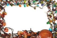 Jeweled border. Vintage jewelry colorful frame, on white background Royalty Free Stock Image