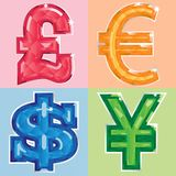 Jeweled currency symbols Royalty Free Stock Images