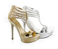 Jeweled evening shoes. On white Royalty Free Stock Photos