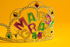 Jeweled Mardi Gras crown on a yellow background Stock Photography
