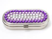 Jeweled Pill Box. Purple and Silver Jeweled Pill Box Royalty Free Stock Photos
