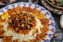 Jeweled rice close view, iranian pilaf with tahdig royalty free stock photos