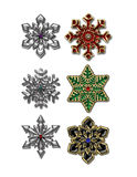 Jeweled Snowflake. For use in scrapbooking, invitations, ornaments, etc Stock Photos