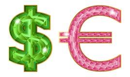 Jeweled symbols. Dollar and euro symbols isolated on the white Royalty Free Stock Image
