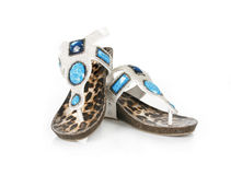 Jeweled white sandals Stock Images