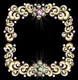 Jeweled winter frame. A beautiful frame made of golden swirls, golden snowflakes, pearls & jewels vector illustration