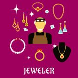 Jeweler or goldsmith with jewelries, flat style Royalty Free Stock Images