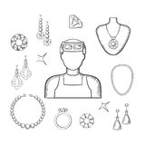 Jeweler or goldsmith with jewelries, sketch style. Jeweler or goldsmith profession with man in professional glasses, luxury jewelries such as fancy earrings Royalty Free Stock Photos