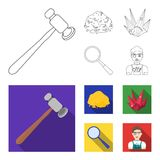 A jeweler hammer, a magnifier, a copper ore, a crystal. Precious minerals and a jeweler set collection icons in outline. Flat style vector symbol stock Royalty Free Stock Images