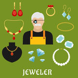 Jeweler and jewelry flat icons Royalty Free Stock Photo