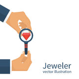 Jeweler  looking  diamond Royalty Free Stock Photography