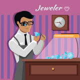Jeweler Man Examines the Diamond. Jeweler during the evaluation of jewels. Young jeweler in glasses examines faceted diamond in workplace in the lamplight flat Royalty Free Stock Images