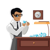Jeweler Man Examines the Diamond Royalty Free Stock Photo