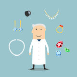 Jeweler man with jewelries and gems Royalty Free Stock Images