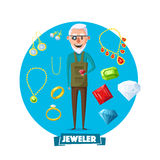 Jeweler man profession and jewelry vector items Stock Images