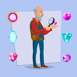 Jeweler Man Vector. Eyeglass Magnifier, Jewelry Gem Items. Occupation Person To Work With Precious Stones. Cartoon. Jeweler Valuer Isolated Man Vector Royalty Free Stock Photography