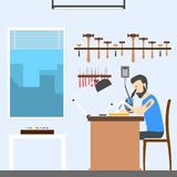 Jeweler at office. Man making jewels and jewellery Stock Photos