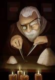 Jeweler. Old man sort the rice. Jeweler. Raster illustration Stock Photos