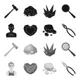 Jeweler, pliers, gold ore, garnet in the form of heart. Precious minerals and jeweler set collection icons in black. Monochrome style vector symbol stock Royalty Free Stock Photo