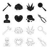 Jeweler, pliers, gold ore, garnet in the form of heart. Precious minerals and jeweler set collection icons in black. Outline style vector symbol stock Stock Images