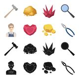 Jeweler, pliers, gold ore, garnet in the form of heart. Precious minerals and jeweler set collection icons in black. Cartoon style vector symbol stock Stock Photography