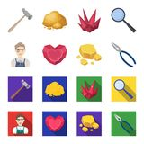 Jeweler, pliers, gold ore, garnet in the form of heart. Precious minerals and jeweler set collection icons in cartoon. Flat style vector symbol stock Stock Image
