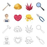 Jeweler, pliers, gold ore, garnet in the form of heart. Precious minerals and jeweler set collection icons in cartoon. Outline style vector symbol stock Stock Images