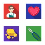 Jeweler, pliers, gold ore, garnet in the form of heart. Precious minerals and jeweler set collection icons in flat style Stock Photography