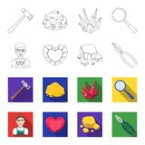 Jeweler, pliers, gold ore, garnet in the form of heart. Precious minerals and jeweler set collection icons in outline. Flet style vector symbol stock Royalty Free Stock Photos