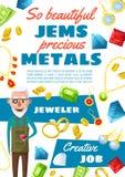Jeweler profession, gems and jewels royalty free illustration