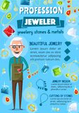 Jeweler or goldsmith, jewelry and tools vector illustration