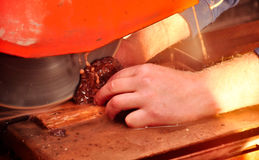 Jeweler`s workshop. Cutting of the agate stone Stock Photography
