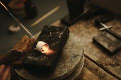Free Jeweler Solders A Metal Ring Stock Image - 127158881