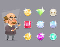 Jeweler Valuer Appraiser Quality Check Process Icon Set Retro Cartoon Design Mobile game Vector Illustration Royalty Free Stock Photography