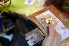 Jeweler working on ring Royalty Free Stock Images