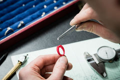 Jeweler working with wax model ring royalty free stock photos