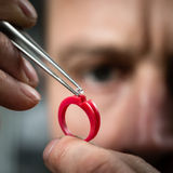 Jeweler working with wax model ring Royalty Free Stock Images