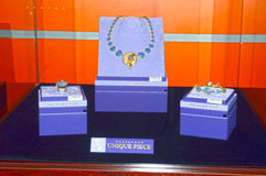 jewelery和手表品牌的独特的片断汇集唯美主义者首饰议院Garik Gevorkyan创建者x国际性组织陈列 免版税库存图片