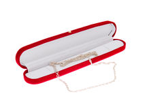 Jewelery. Silver jewelery in red box Stock Photography