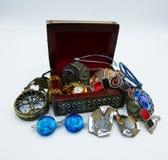 A jewelery box of Bijoux on white background stock photos
