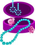 Jewelery box with earring, necklace and  flowers Stock Photo